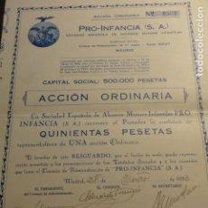 Coleccionismo Acciones Españolas: ACCION 500 PESETAS PRO INFANCIA SOCIEDAD ESPAÑOLA DE AHORROS MUTUOS INFANTILES 1933. Lote 178376266
