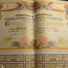 Coleccionismo Acciones Españolas: ACCION 1000 PESETAS CEPANSA COMPAÑIA ESPAÑOLA PRODUCTORA ALGODON NACIONAL 1966. Lote 178376381