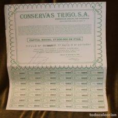 Coleccionismo Acciones Españolas: LOTE DE DIEZ ACCIONES DE CONSERVAS TRIGO DE VALENCIA,DIFERENTES AÑOS,DIFERENTES SERIES.. Lote 178609332
