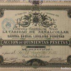 Collezionismo Azioni Spagnole: ACCION DE 500 PESETAS. COMPAÑÍA GADITANA DE MINAS. LA CARIDAD DE AZNALCOLLAR. CADIZ, 1889. LACAVE.. Lote 178769880