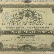 Coleccionismo Acciones Españolas: ACCION DE 500 PESETAS. COMPAÑÍA GADITANA DE MINAS. LA CARIDAD DE AZNALCOLLAR. CADIZ, 1889. LACAVE.. Lote 178771452