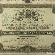 Coleccionismo Acciones Españolas: ACCION DE 500 PESETAS. COMPAÑÍA GADITANA DE MINAS. LA CARIDAD DE AZNALCOLLAR. CADIZ, 1889. LACAVE.. Lote 178771530