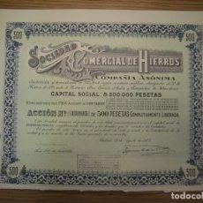 Coleccionismo Acciones Españolas: ACCIÓN SOCIEDAD COMERCIAL DE HIERROS 1944. Lote 180042083