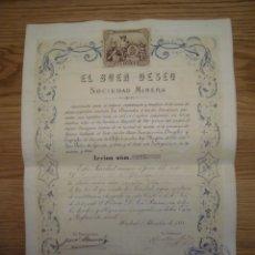 Coleccionismo Acciones Españolas: ACCIÓN SOCIEDAD MINERA EL BUEN DESEO 1880. Lote 180042875