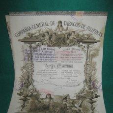 Coleccionismo Acciones Españolas: ACCION COMPAÑIA GENERAL DE TABACOS DE FILIPINAS. BARCELONA 1 DE ENERO DE 1882.. Lote 180162306