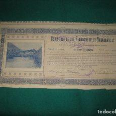 Coleccionismo Acciones Españolas: ACCION COMPAÑIA DE LOS FERROCARRILES VASCONGADOS. BILBAO 15 ABRIL 1909.. Lote 180163800