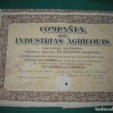 Coleccionismo Acciones Españolas: ACCION COMPAÑIA DE INDUSTRIAS AGRICOLAS. . SAN SEBASTIAN 17 ABRIL 1938.. Lote 180166417