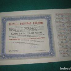 Coleccionismo Acciones Españolas: ACCION PRESTIL SOCIEDAD ANONIMA. BARCELONA 12 DE DICIEMBRE DE 1960. CON CUPONES.. Lote 180175367