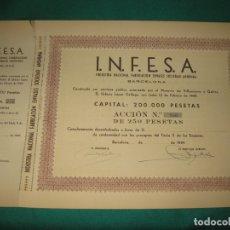 Coleccionismo Acciones Españolas: ACCION I.N.F.E.S.A. INDUSTRIA NACIONAL FABRICACION ENVASES SOCIEDAD ANONIMA. BARCELONA 1949.. Lote 180175650