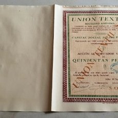 Colecionismo Ações Espanholas: ACCIÓN UNIÓN TEXTIL SÓLLER. MALLORCA. AÑO 10/09/1938. . Lote 180491088