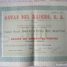 Collectionnisme Actions Espagne: ACCIÓN 250 PESETAS AGUAS DEL MAIGMO,S.A. ALICANTE 1957 CAPITAL SOCIAL NOVECIENTAS MIL PESETAS,Nº 143. Lote 207136842