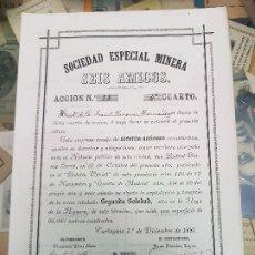 Coleccionismo Acciones Españolas: ACCION MINAS SOCIEDAD ESPECIAL MINERA SEIS AMIGOS CARTAGENA MURCIA 1881. Lote 180960916