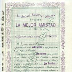 Coleccionismo Acciones Españolas: SOCIEDAD ESPECIAL MINERA TITULADA LA MEJOR AMISTAD. 1 DE NOVIEMBRE DE 1905. LA UNIÓN. MURCIA. Lote 181349038