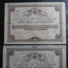 Coleccionismo Acciones Españolas: 2 ACCIONES DE 500 PESETAS 1889 Y 1901 COMPAÑIA GADITANA DE MINAS -LA CARIDAD DE AZNALCOLLAR-. Lote 181415822