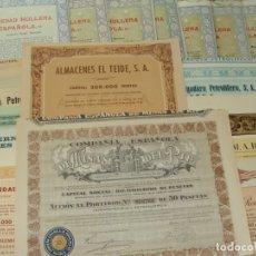 Coleccionismo Acciones Españolas: COLECCIÓN DE 16 ACCIONES ESPAÑOLAS - DIFERENTES AÑOS - RIF, FLAMAGAS, HULLERA, VALORES -SALIDA 0,01€. Lote 181467686
