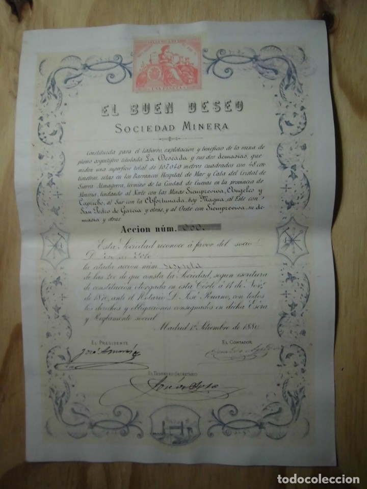 ACCIÓN SOCIEDAD MINERA EL BUEN DESEO 1880 (Coleccionismo - Acciones Españolas)