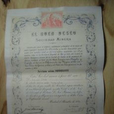 Coleccionismo Acciones Españolas: ACCIÓN SOCIEDAD MINERA EL BUEN DESEO 1880. Lote 181527282