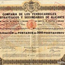 Coleccionismo Acciones Españolas: CIA DE LOS FFCC ESTRATEGICOS Y SECUNDARIOS DE ALICANTE - OBLIGACION 1813. Lote 181560492
