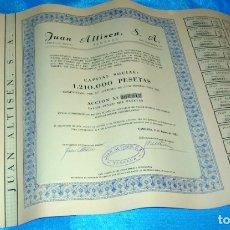 Coleccionismo Acciones Españolas: JUAN ALTISEN S.A. TARRASA 1953- LOTE DE 6 LOS DE LAS FOTOS. ORIGINALES ANTIGUOS IMPORTANTE LEER. Lote 181720071