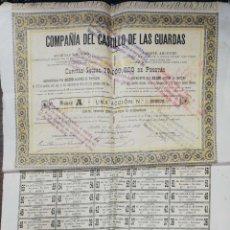 Coleccionismo Acciones Españolas: ACCION. COMPAÑIA DEL CASTILLO DE LAS GUARDAS. SEVILLA, 1889. MED : 50 X 39.5 CM APROX.. Lote 182256115