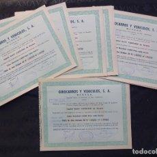Coleccionismo Acciones Españolas: LOTE 10 ACCIONES GIROCARROS Y VEHICULOS S.A. AÑO 1960 BARCELONA. Lote 182387431
