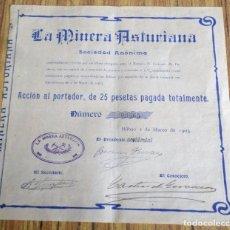 Colecionismo Ações Espanholas: LA MINERA ASTURIANA S.A. - BILBAO 1903 . Lote 182613248
