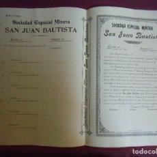 Coleccionismo Acciones Españolas: ACCION MINERA.SAN JUAN BAUTISTA.CARTAGENA, 31/12/1911.. Lote 182623478