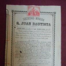 Coleccionismo Acciones Españolas: ACCION MINERA.SAN JUAN BAUTISTA. MURCIA, 26/11/1879.. Lote 182623630