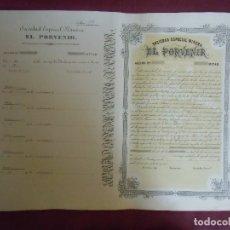 Coleccionismo Acciones Españolas: ACCION MINERA. EL PORVENIR.CARTAGENA, 1876.. Lote 182623987
