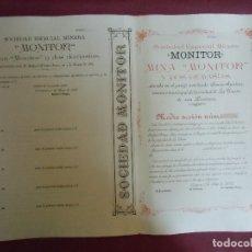 Coleccionismo Acciones Españolas: ACCION MINERA. MONITOR.CARTAGENA, 1/5/1898. Lote 182624115