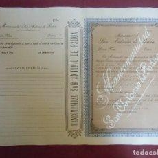 Coleccionismo Acciones Españolas: ACCION MINERA. SAN ANTONIO DE PADUA.CARTAGENA, 29/9/1899.. Lote 182624258