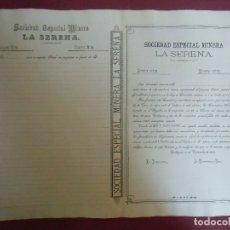 Coleccionismo Acciones Españolas: ACCION MINERA. LA SERENA.CARTAGENA, 15/11/1888.. Lote 182624712