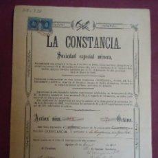 Coleccionismo Acciones Españolas: ACCION MINERA. LA CONSTANCIA. AGUILAS, 20/8/1883.. Lote 182625018