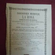 Coleccionismo Acciones Españolas: ACCION MINERA. LA ROSA.MURCIA, 16/4/1892.. Lote 182625145