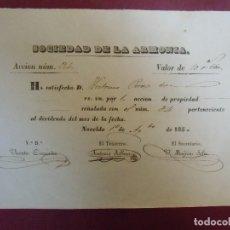 Coleccionismo Acciones Españolas: ACCION MINERA. SOCIEDAD DE LA ARMONIA.NOVELDA(ALICANTE) 1/8/1850.. Lote 182625250