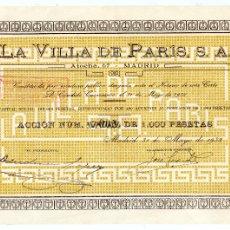 Colecionismo Ações Espanholas: LA VILLA DE PARIS, S.A., CALLE ATOCHA 67, MADRID, ALMACÉN DE MODAS, 1932, IMPECABLE. Lote 182800137