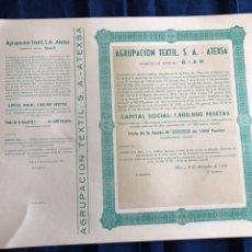 Coleccionismo Acciones Españolas: ACCIÓN. AGRUPACIÓN TEXTIL SA - ATEXSA - BIAR (ALICANTE). Lote 182860597