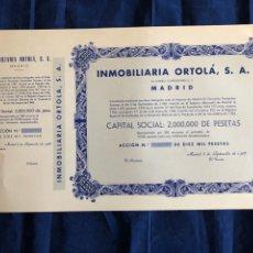 Coleccionismo Acciones Españolas: ACCIÓN. INMOBILIARIA ORTOLA SA - MADRID. Lote 182862523