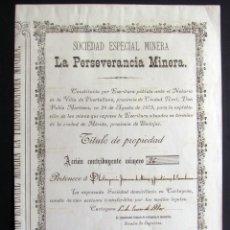 Coleccionismo Acciones Españolas: CARTAGENA. 1880. SOCIEDAD ESPECIAL MINERA LA PERSERVERANCIA MINERA. Lote 183093011