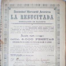 Collectionnisme Actions Espagne: ACCIÓN SOCIEDAD MERCANTIL ANÓNIMA LA RESUCITADA, ALICANTE, 6.000 PTAS. Nº 68. Lote 183179187