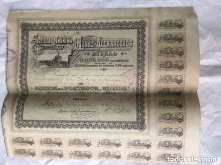 ACCION DE LA SOCIEDAD ANONIMA MINAS DE ALCARACEJOS - BILBAO 1898 - CON CUPONES - 42X34CM (Coleccionismo - Acciones Españolas)