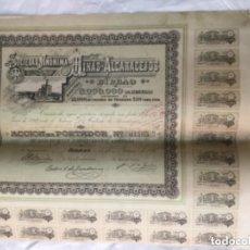 Coleccionismo Acciones Españolas: ACCION DE LA SOCIEDAD ANONIMA MINAS DE ALCARACEJOS - BILBAO 1898 - CON CUPONES - 42X34CM. Lote 183271471