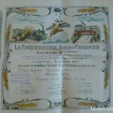 Coleccionismo Acciones Españolas: LA FAMA INDUSTRIAL HARINO PANADERA ACCION 1000 PESETAS 1914 MADRID. Lote 183386367