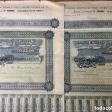 Coleccionismo Acciones Españolas: 2 ACCIONES CORRELATIVAS SOCIEDAD ESPAÑOLA DE PIEDRA VIDRIO Y CONSTRUCCIONES GARCHEY - 1902 - 65X45. Lote 183414256