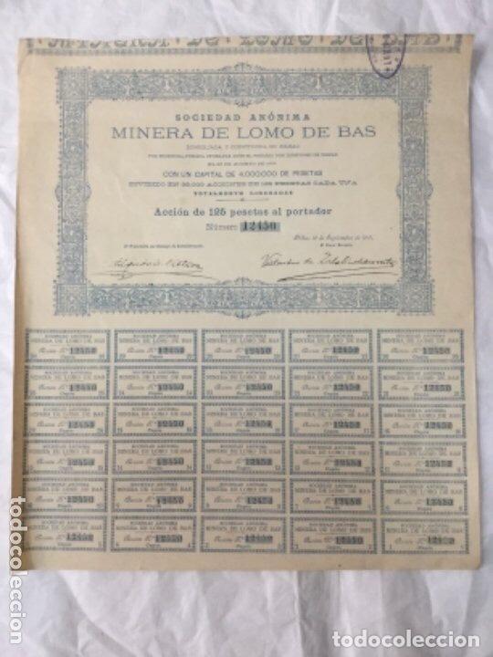 ACCION SOCIEDAD ANONIMA MINERA DE LOMO DE BAS - BILBAO 1901 - TODOS LOS CUPONES - 35,5X31CM (Coleccionismo - Acciones Españolas)