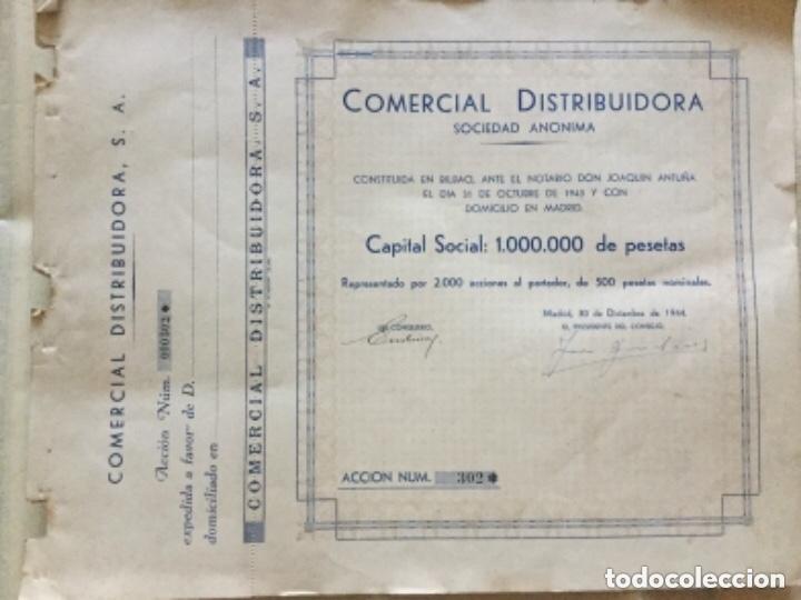 COMERCIAL DISTRIBUIDORA SOCIEDAD ANONIMA - PAREJA CORRELATIVA - 1944 - 34,5X27CM (Coleccionismo - Acciones Españolas)