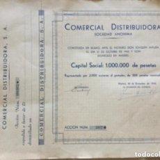 Coleccionismo Acciones Españolas: COMERCIAL DISTRIBUIDORA SOCIEDAD ANONIMA - PAREJA CORRELATIVA - 1944 - 34,5X27CM . Lote 183501921