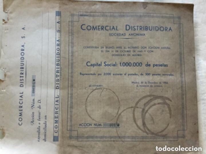 Coleccionismo Acciones Españolas: COMERCIAL DISTRIBUIDORA SOCIEDAD ANONIMA - PAREJA CORRELATIVA - 1944 - 34,5x27cm - Foto 2 - 183501921