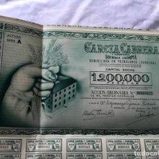 Coleccionismo Acciones Españolas: ACCION DE 1000PTS NOMINALES COMPLETA, GARCÍA CABRERA DE POZOBLANCO (CORDOBA). 1957 PERFECTA. Lote 183742676
