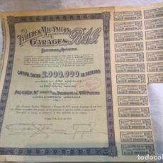 Coleccionismo Acciones Españolas: 2 ACCIONES -TALLERES MECANICOS Y GARAGES R.A.G. - BILBAO 1930 Y 1943 - 38X31 Y 38X33CM. Lote 184086235